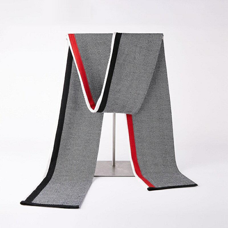 圍巾針織披肩-羊毛時尚拼色條紋男配件3色73wi20【獨家進口】【米蘭精品】