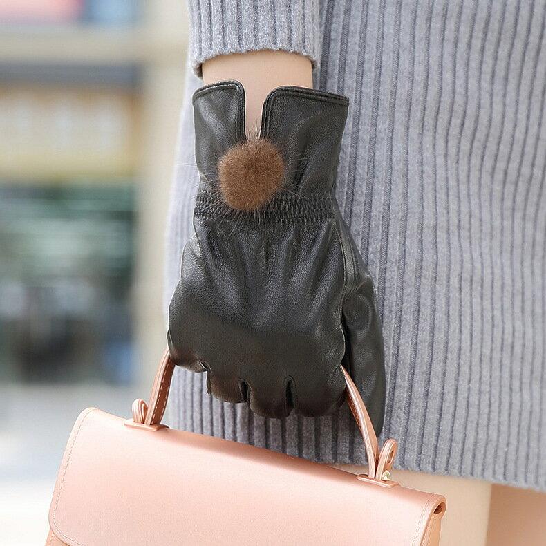 真皮手套保暖手套-綿羊皮加絨毛球防風女手套73wm63【獨家進口】【米蘭精品】 0