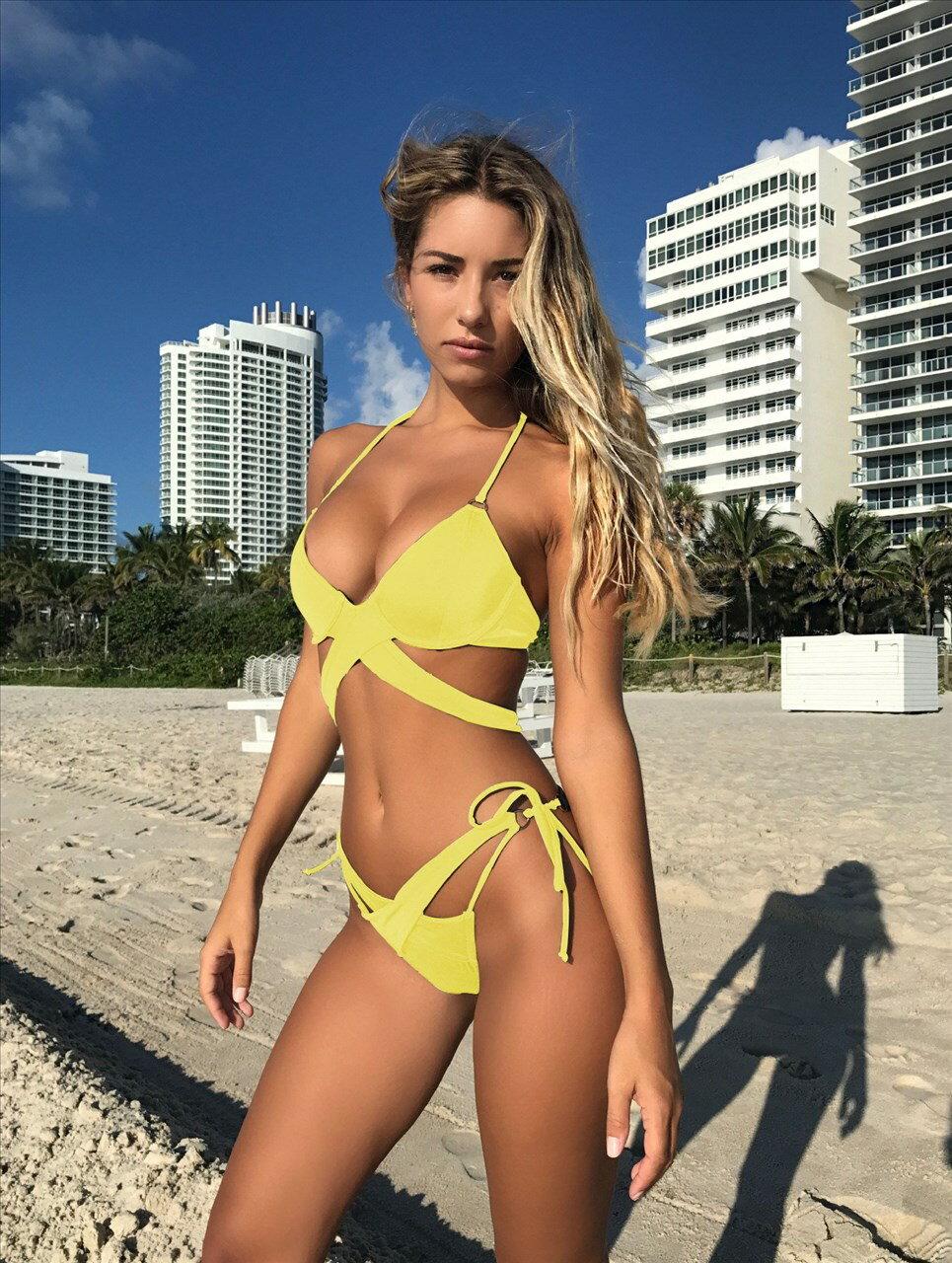 ANK159 歐美新款純色交叉綁帶比基尼兩件性感泳衣泳裝 多色
