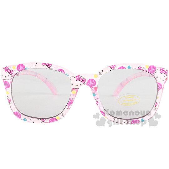 〔小禮堂〕Hello Kitty 兒童太陽眼鏡《透明.粉灰.貝殼》安全抗UV鏡片