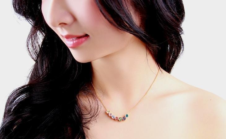 康芭芭項鏈女 時尚短款鎖骨鏈精致七彩奧地利水晶珠項鏈HN0004