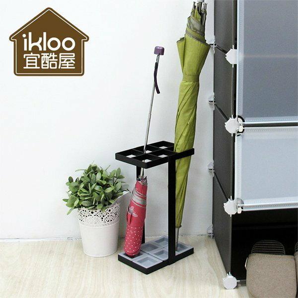 BO雜貨【YV5014】ikloo日式簡約傘架-長型6格 雨傘 傘架 集水盤可移動 雨天置物架收納架