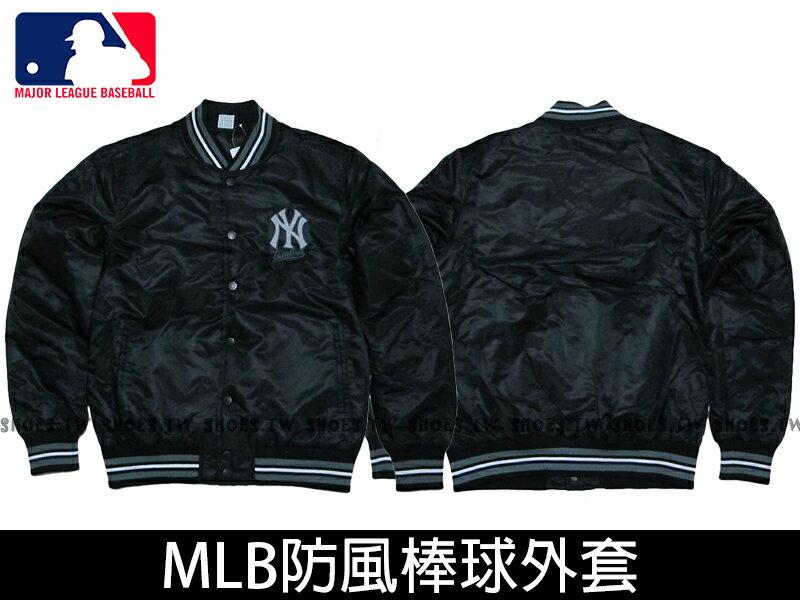 Shoestw【5560740-900】MLB 美國大聯盟 棒球外套 排釦 洋基 黑色 防風 亮面