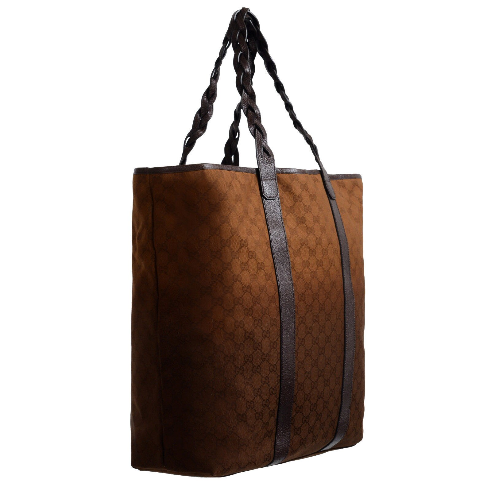 7e0c8095e94 ONE MODA  Gucci Men s Leather Trimmed GG Print Large Tote Shoulder ...