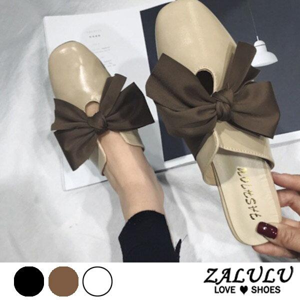 ZALULU愛鞋館7EE063預購夢幻公主方頭蝴蝶結拖鞋-黑米淺棕-35-39