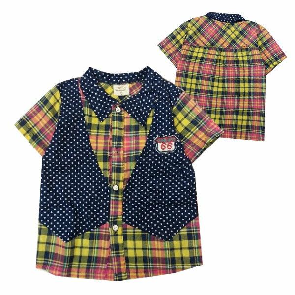 【班比納精品童裝】點點假背心藍黃格紋襯衫-黃【BO150330026】