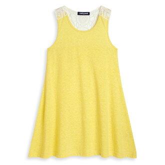 Little moni 蕾絲拼接露背洋裝 - 黃色