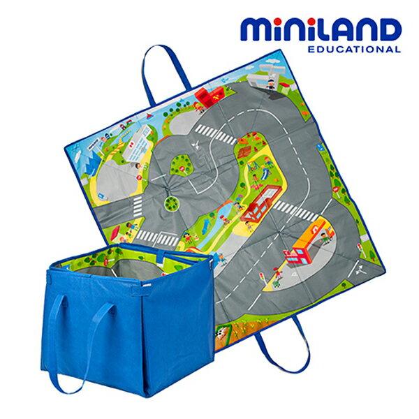 【西班牙 Miniland】2in1城市軌道遊戲墊/收納箱 ML000006