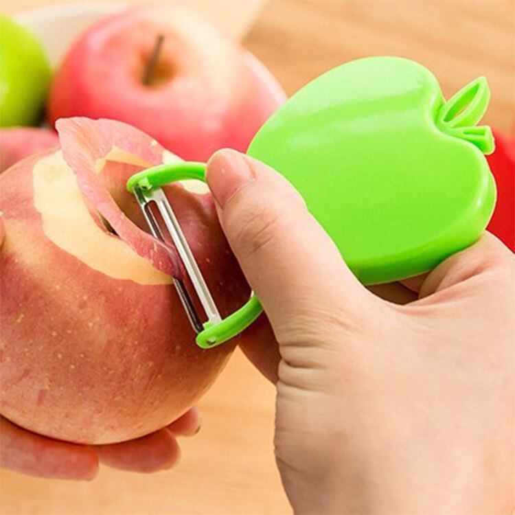 可愛蘋果造型可折疊口袋水果削皮器【庫奇小舖】