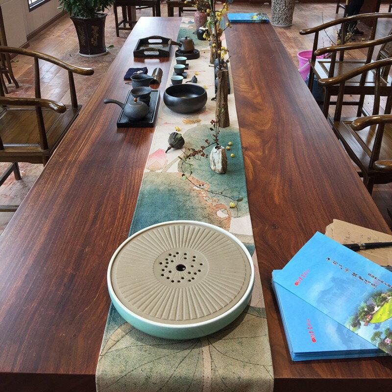 新中式大板桌旗加長茶席禪意紅木茶幾茶桌餐桌棉麻布藝桌布中國風1愛尚優品