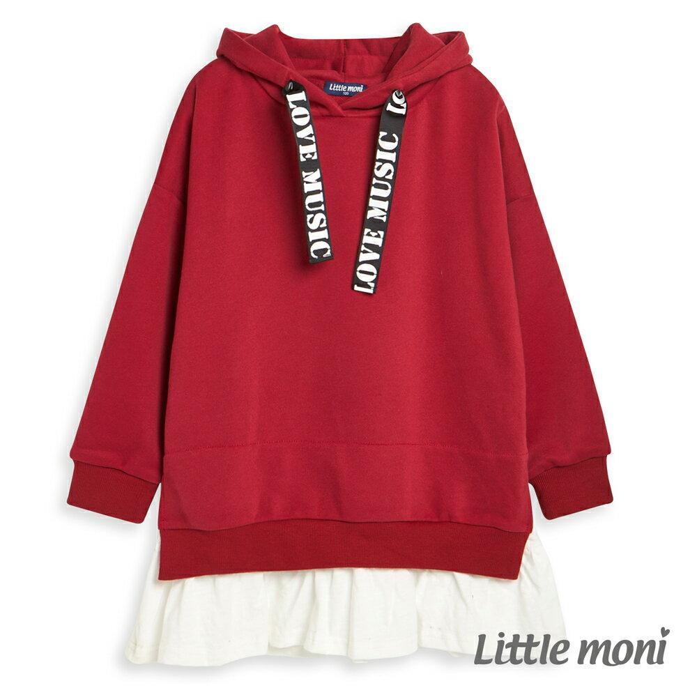 Little moni 連帽織帶拼接長版上衣-紅色(好窩生活節) 0