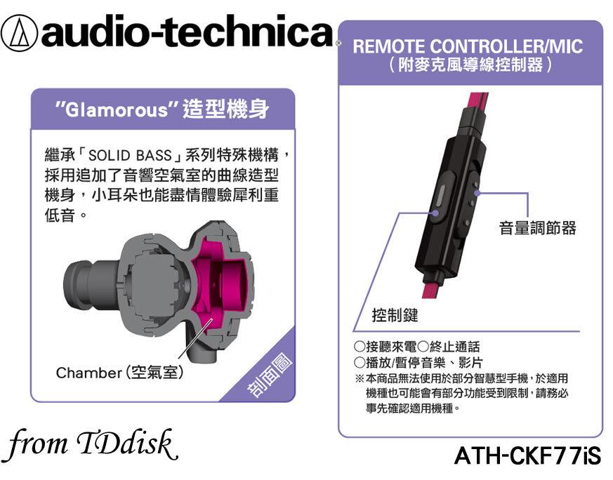 志達電子 ATH-CKF77iS audio-technica 日本鐵三角 SOLID BASS系列 耳道式耳機 For Android Apple