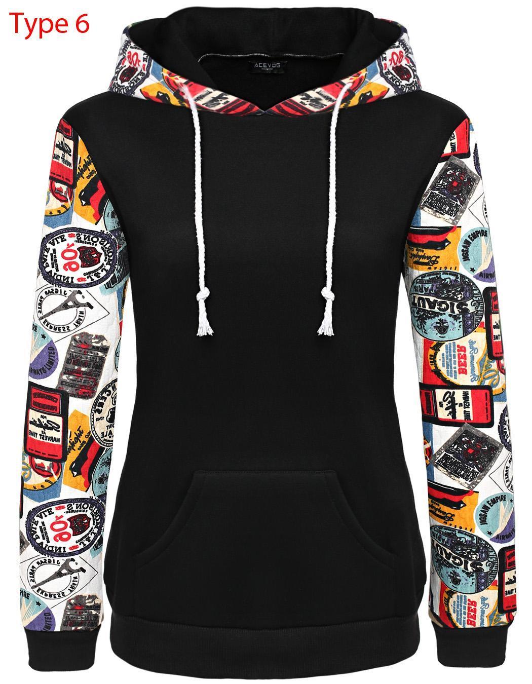 Women Long Sleeve Print Casual Hooded Pullover Hoodie 4