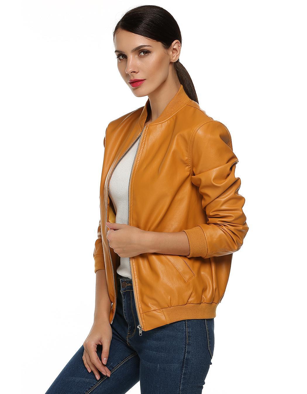 Women Casual Zipper Synthetic Leather Biker Jacket Coat 3