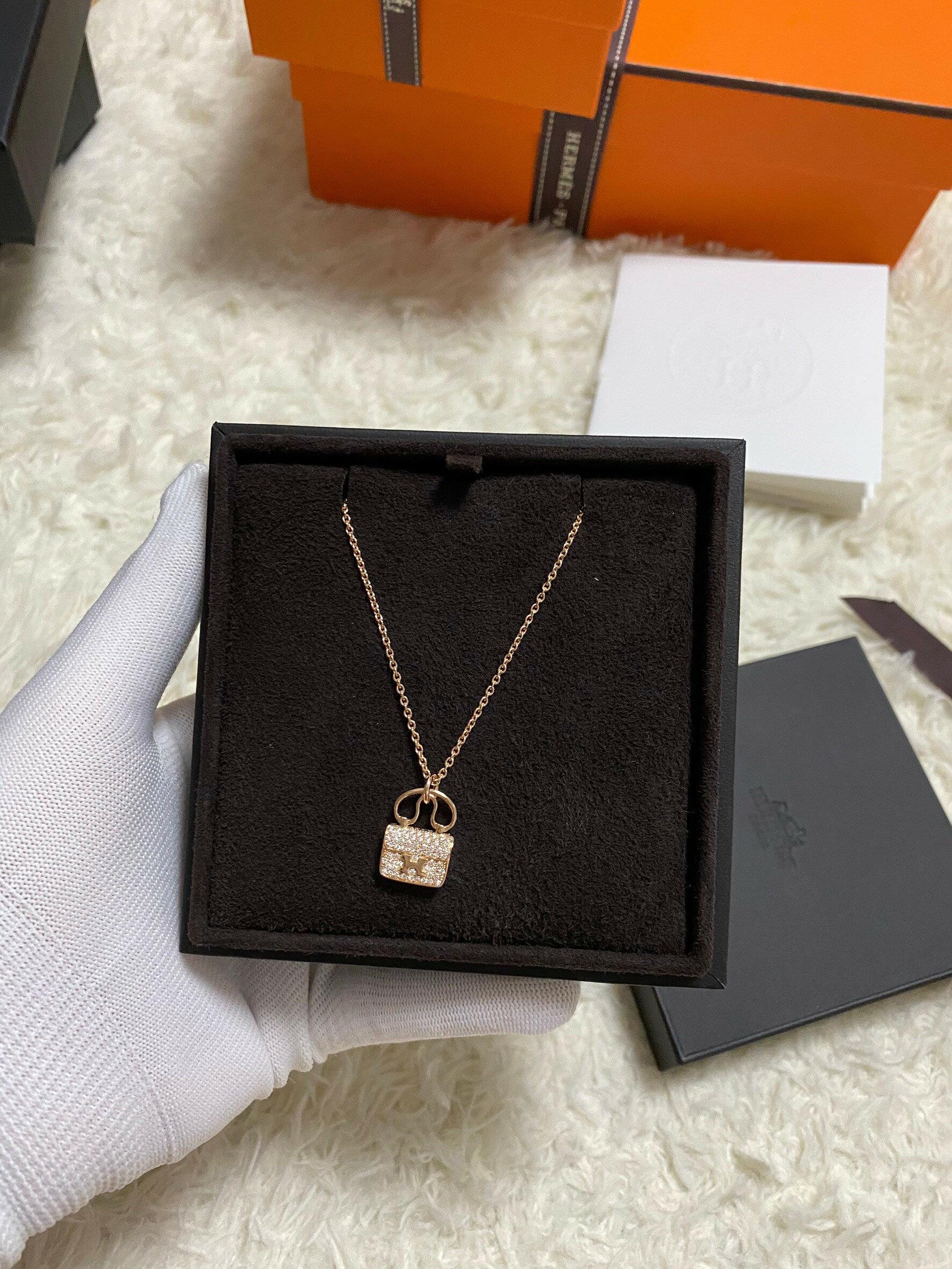 在途現貨 愛馬仕 康康 玫瑰金滿鑽 項鍊  $139800  全配附購證正本