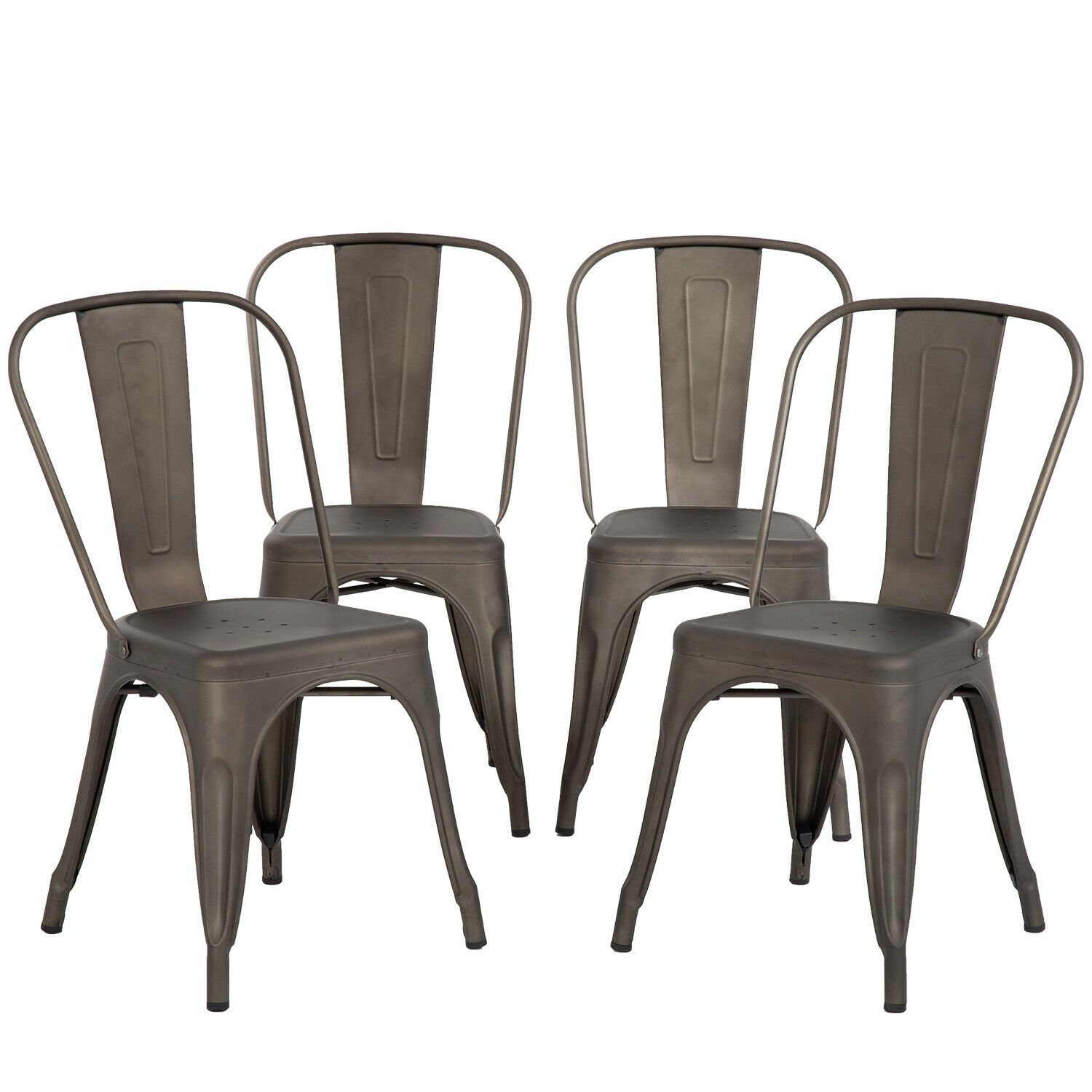 FDW Chair Metal Chairs Dining Chairs Tolix Restaurant Chair Set of 4  Kitchen Chair 18inch Seat Height Chic Trattoria Metal Indoor/Outdoor Side  Bar ...