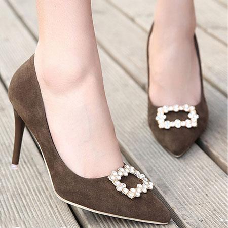 高跟鞋 輕熟質感絨布水鑽尖頭高跟鞋【S1602】☆雙兒網☆ 8