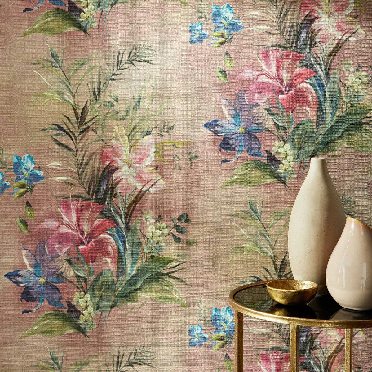 E1D1-15401 (1色) 英國期貨壁紙 特殊自然草編纖維 古典優雅 浪漫花朵植物