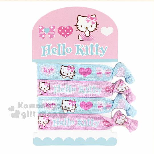 〔小禮堂〕Hello Kitty 綁式彈力髮束《4入.淡粉藍.愛心.大臉.寬版》髮圈