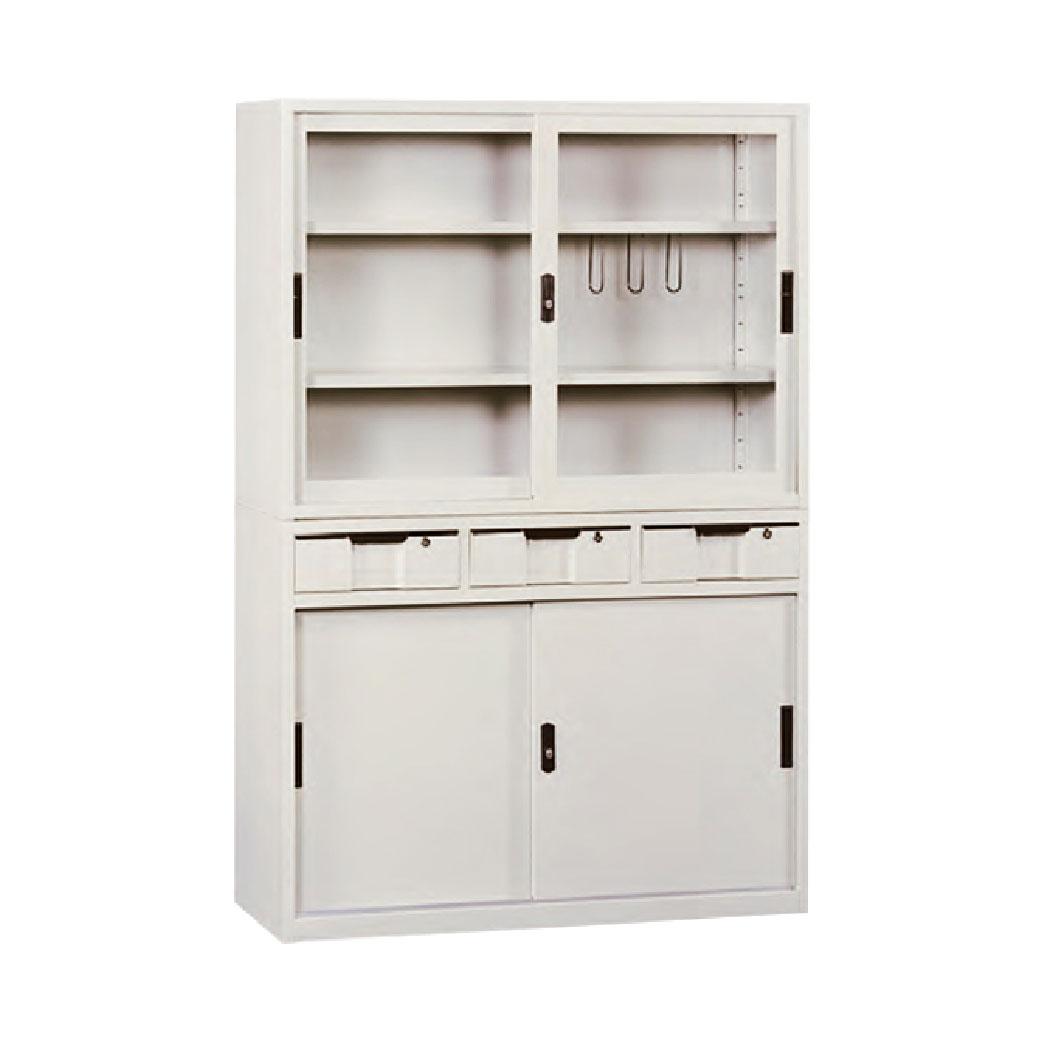 【哇哇蛙】玻璃拉門文件櫃 KG-118+KS-118-3D 拉玻+中三抽 辦公 學校 收納 文件報表 置物櫃 分類櫃 隔間櫃 鐵櫃 資料櫃