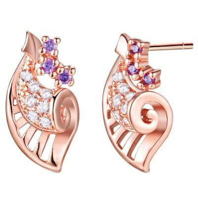 純銀耳環鍍18k金鑲鑽耳飾~ 浪漫海洋貝殼七夕情人節 女飾品2色73cz79~ ~~米蘭