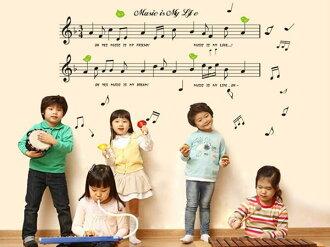 BO雜貨【YV2941】可重複貼 組合壁貼 牆貼 創意璧貼 幼稚園學校音樂貼畫裝飾 音符 AY7106