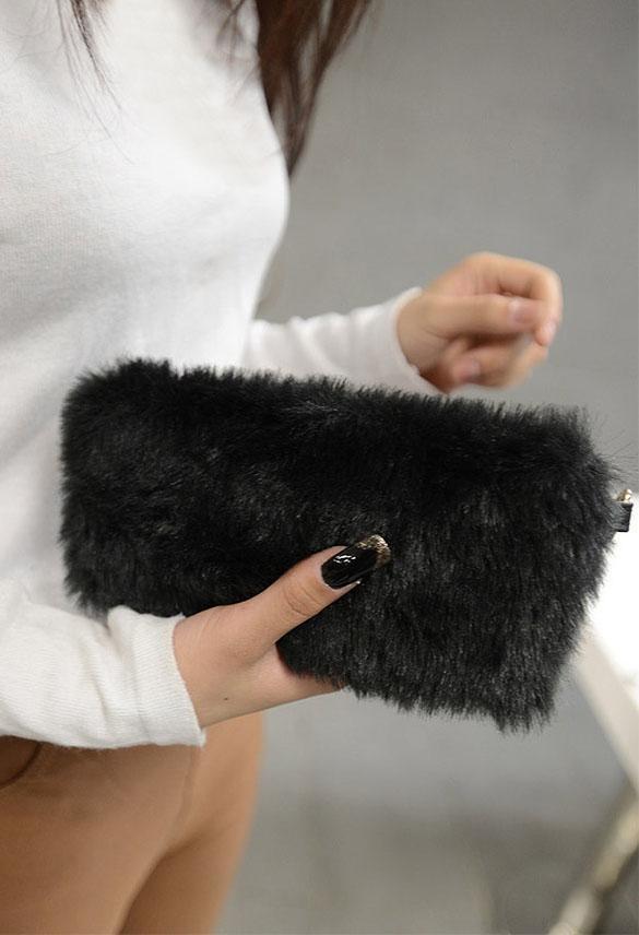 Clutch Bag Faux Fur  Wallet 1