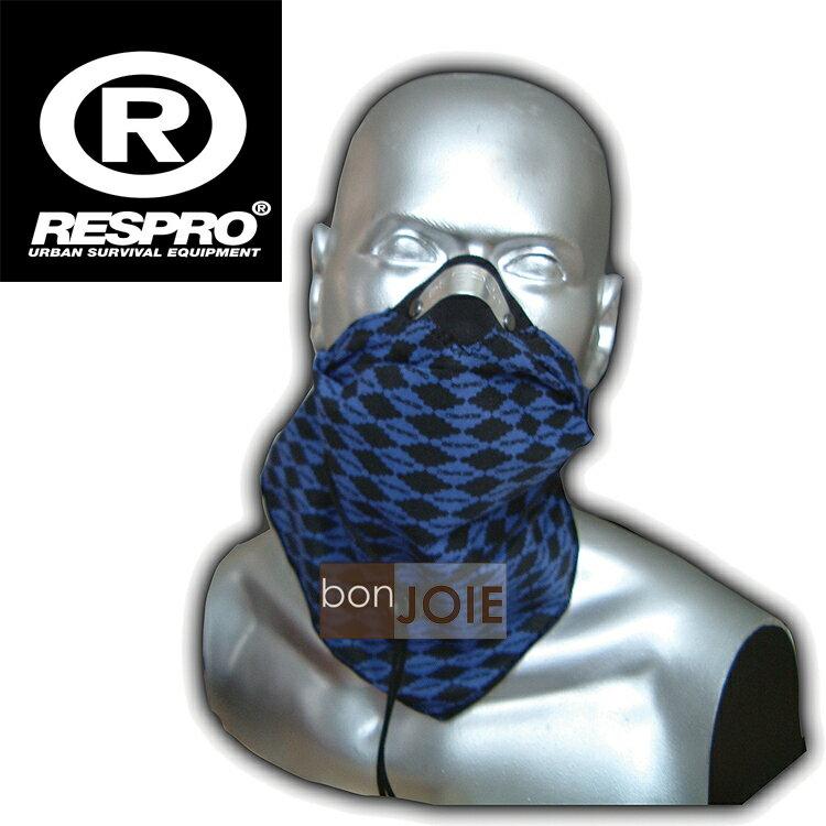 ::bonJOIE:: 英國進口 Respro Bandit Anti Pollution Scarf 領巾式口罩 (格菱藍)(全新盒裝) 防污染面巾 自行車 腳踏車 單車 摩托車 運動
