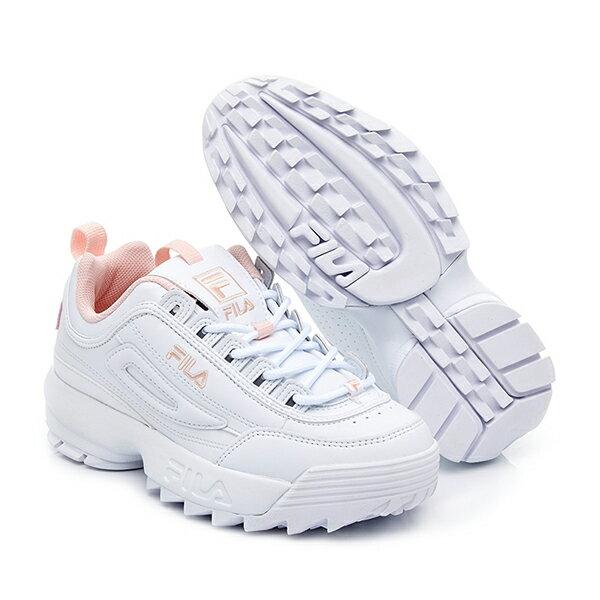 【滿額領券折$150】FILA DISRUPTOR 2 復古運動鞋 老爹鞋 鋸齒鞋 厚底增高 皮革 白粉紅 女生【4C113V115】