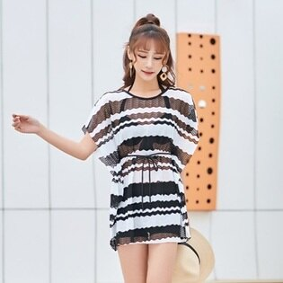 泳裝三件套泳衣-韓版時尚條紋四角女比基尼2色73rz13【獨家進口】【米蘭精品】