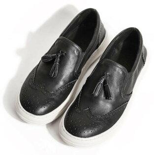 FINDSENSE服飾:FINDSENSEMD日系高品質時尚潮男手工流蘇設計小牛皮免綁帶一腳蹬懶人鞋低跟休閒鞋板鞋