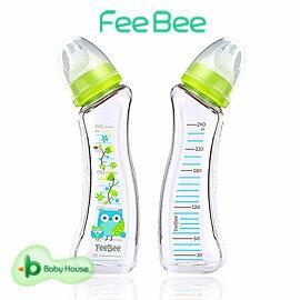 【淘氣寶寶】FeeBee彎角玻璃奶瓶240ml-親子貓頭鷹【手工吹製玻璃精製而成】