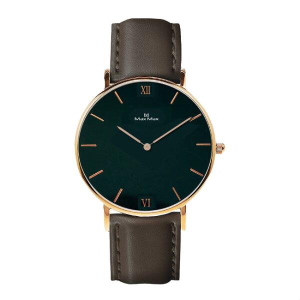 MaxMaxMAS7025-1時尚簡約皮帶腕錶-駝色40mm