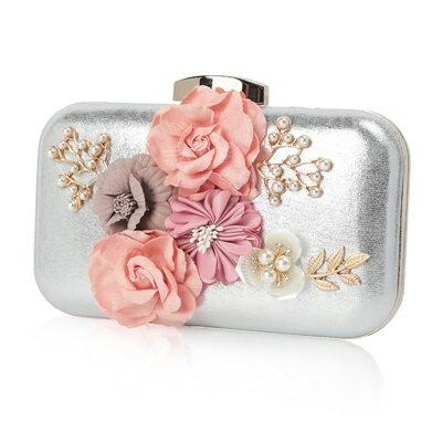 晚宴包鏈條手提包-花朵珍珠鑲鑽方型女手拿包3色73rk28【獨家進口】【米蘭精品】