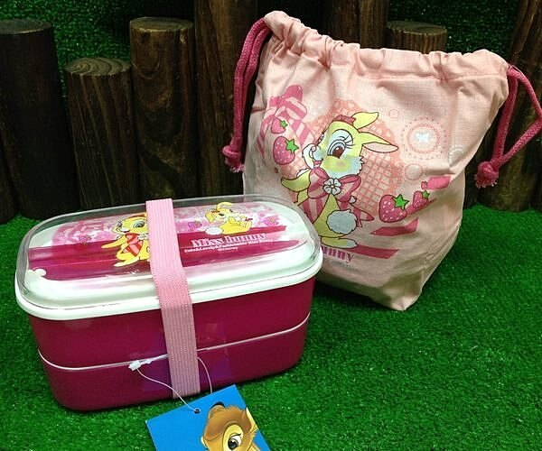 =優生活=日本進口 邦妮兔雙層多件組合餐盒 附餐盒束口袋 環保筷 兒童餐具 便當盒