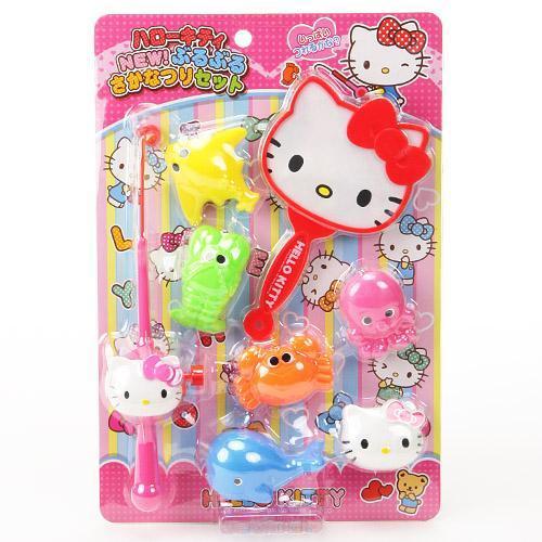 HelloKitty釣魚玩具組釣竿螃蟹撈魚網日本進口正版011463