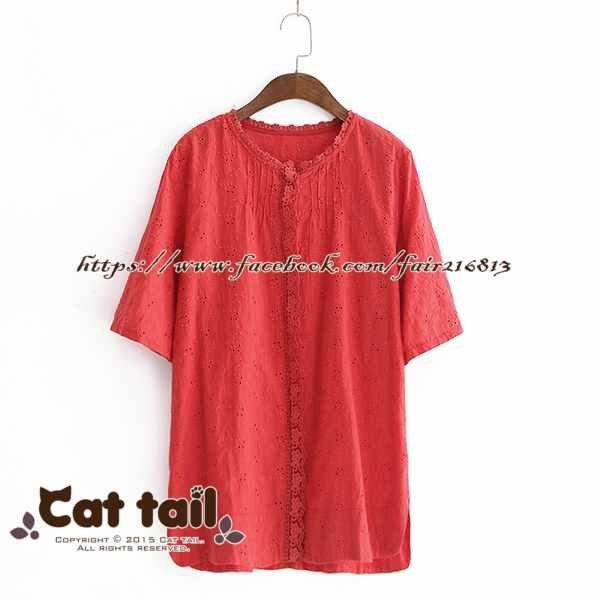 《貓尾巴》LZ-03153小清新蕾絲刺純色短袖上衣(森林系日系棉麻文青清新)