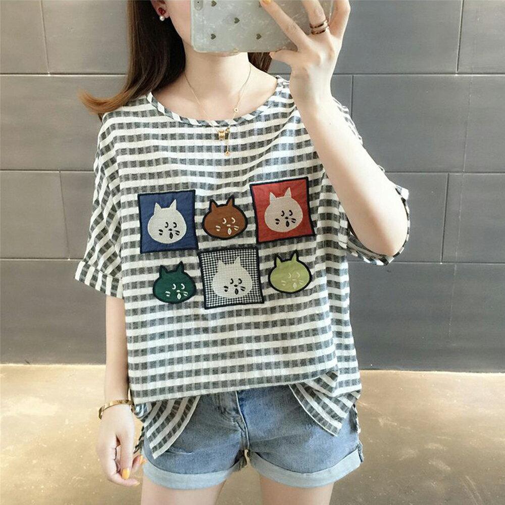 寬鬆棉麻條紋t恤(2色F碼)*ORead* 2