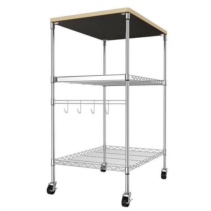 Kitchen Wire Pull-Out Shelving 3-Shelf Microwave Cart Adjustable Height with Hooks Wheel 1