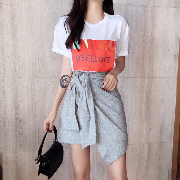 PS Mall 小心機綁帶高腰半身裙【T573】 0