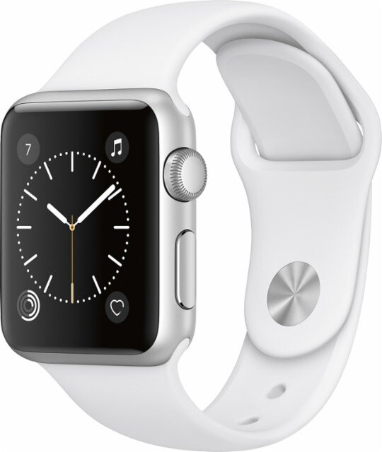 Apple - Apple Watch Series 1 38mm Silver Aluminum Case White Sport Band - Silver Aluminum