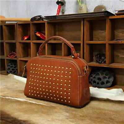 手提包植鞣皮側背包-鉚釘有型復古個性女包包3色73sv43【獨家進口】【米蘭精品】
