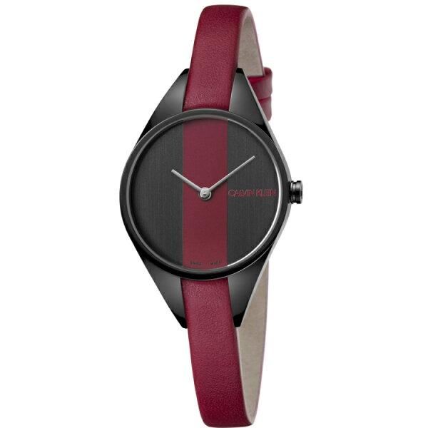 Calvinklein卡文克萊優雅感官系列(K8P237U1)淑女美感腕錶酒紅29mm