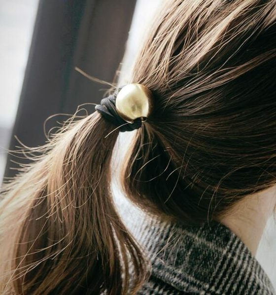 PS Mall 韓版髮飾頭飾 韓式拉絲磨砂金屬球球個性時尚髮繩 圓球髮圈【G2081】