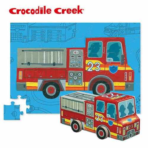 【美國CrocodileCreek】汽車造型盒拼圖系列-消防車