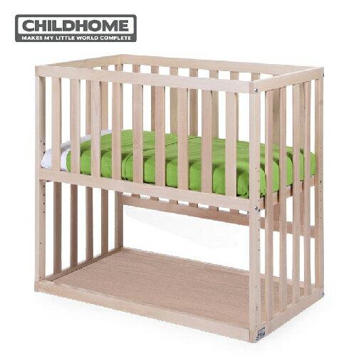 比利時【ChildHome】床邊童話嬰兒床- 原木色(含床墊+床包)