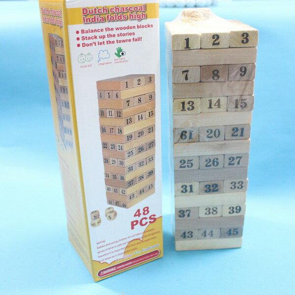 大疊疊樂 高級原木色疊疊樂(環保原木色.木材)/一盒48片入{促150}~YF2410