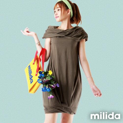 【Milida,全店七折免運】-夏季尾聲-素色款-一字領花苞洋裝 4