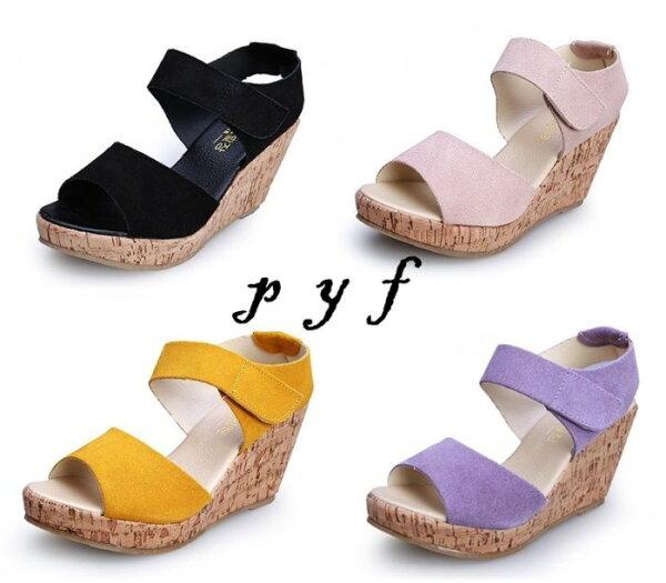 Pyf♥春夏厚底防水台魚口楔型跟真皮魔鬼氈涼鞋34-4243大尺碼女鞋
