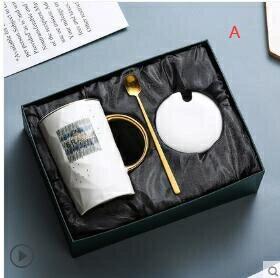 【快速出貨】陶瓷杯子創意個性潮流馬克杯帶蓋勺簡約情侶喝水杯家用茶杯咖啡杯創時代3C 交換禮物 送禮